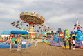 Amusement park with carousel and other fun rides in seaside nj Royalty Free Stock Photography