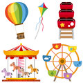 Amusement park collection attractions set a hot air balloon a kite a roller coaster a carousel and a ferris wheel isolated on Royalty Free Stock Image