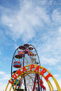 Amusement Park: Colorful Wheel and Luna Park Sign Stock Photo