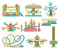 Amusement park design elements set, merry go round, inflatable trampoline, free fall tower, castle, carousel with horses