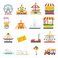 Amusement park flat elements isolated background infographic design concept vector illustration
