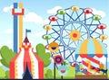 Amusement park. Fun park vector theme, kids carnival entertainments daytime, children amusing attractions cartoon