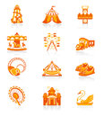 Amusement park funfair attraction red orange icon set Stock Photo