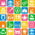 Amusement Park icons Stock Photos