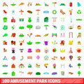 100 amusement park icons set, cartoon style