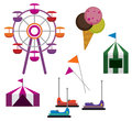Amusement park illustrations of symbols isolated on white background Royalty Free Stock Image