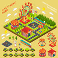 Amusement Park Isometric Map Creator Composition Royalty Free Stock Photo