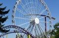 Amusement Park, metal carousel rides Royalty Free Stock Photo