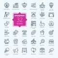 Amusement Park minimal thin line web icon set.