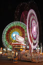 Amusement park by night Stock Photos