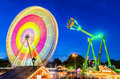Amusement park at night in hannover germany the marksmen festival Stock Photography