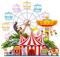 Amusement park scene with many rides Royalty Free Stock Photo