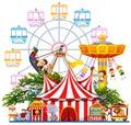 Amusement park scene with many rides illustration Royalty Free Stock Photography