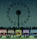 Amusement park store in an against a backdrop of the night sky Royalty Free Stock Photography