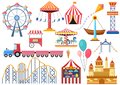 Amusement park vector entertainment icons elements isolated. Colorful cartoon flat ferris wheel, carousel, circus and