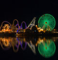 Amusement Pier reflection Stock Photos