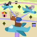 Amusement plane ride a group of animals enjoying a in an park Stock Photography