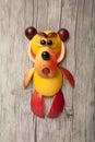 Amusing bear made of fruits Royalty Free Stock Photo