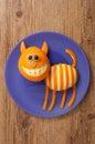 Amusing cat made of orange on blue plate Royalty Free Stock Photo