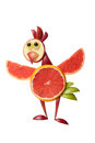Amusing chicken made of fruits on isolated background Royalty Free Stock Images