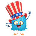 Amusing fluffy  blue cartoon monster wearing Uncle Sam hat. Design character for  Independence Day. Vector illustration Royalty Free Stock Photo