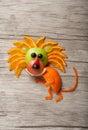 Amusing lion made of fruits