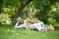 Amusing old couple on picnic portrait of Stock Photo