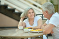 Amusing old couple portrait of a in cafe Royalty Free Stock Images