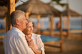 Amusing old couple portrait of a on vacation Stock Image