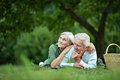 Amusing old couple in summer park Royalty Free Stock Photo