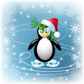 Amusing penguin skates and snowflakes Royalty Free Stock Photos