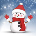 Amusing snowman at hight red dressed in red on a beautiful winter night background Stock Photography