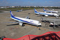 ANA All Nippon Airways airplanes at Fukuoka airport in Japan Royalty Free Stock Photo