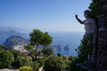 Anacapri and the statue in italy Royalty Free Stock Photos