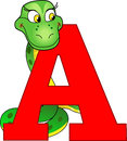 Anaconda the illustration shows the english alphabet letter a with the image of an illustration done in cartoon style Stock Photography