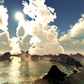 Anak krakatau erupting fantasy illustration Royalty Free Stock Image