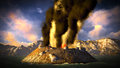 Anak krakatau erupting fantasy illustration Stock Photos