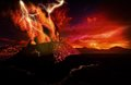 Anak krakatau erupting fantasy illustration Stock Image