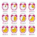 Analog Alarm Clock Symbols Set