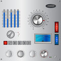 Analog controls interface and recording studio element set illustration Royalty Free Stock Image