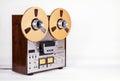 Analog open reel tape deck recorder on white Royalty Free Stock Photos