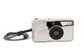 Analog photo camera on white film isolated background Stock Photography