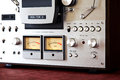Analog stereo open reel tape deck recorder vu meter device closeup Stock Photography