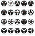 Analog Stereo Tape Reels Icon set, Vector Royalty Free Stock Photo
