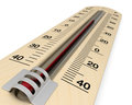 Analog thermometer close up view of an with scale on celsius and fahrenheit d render Stock Photos
