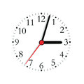 Analogue clock face dial in black and seconds hand in red at 3:03, large detailed isolated macro closeup