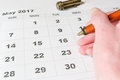 Analysis of a calendar May Royalty Free Stock Photo