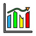 Analysis presentation icon. Business man analysing data.
