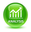 Analysis (statistics icon) glassy green round button