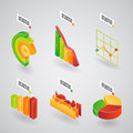 Analytical charts for infographics colorful collection of d bar graphs and pie graphs inforraphics orientated at an angle vector Stock Photos